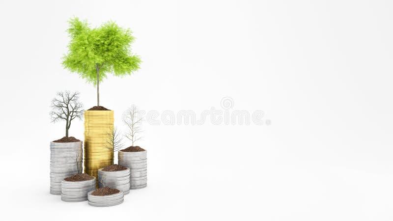 Het groeiende Geld, Groene boom op muntstukken en droge bomen, Financiën en Investeringsconcept dat op witte 3d wordt geïsoleer stock illustratie