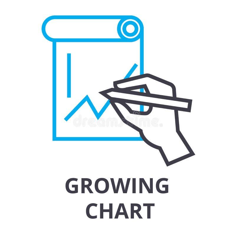 Het groeiende pictogram van de grafiek dun lijn, teken, symbool, illustation, lineair concept, vector stock illustratie