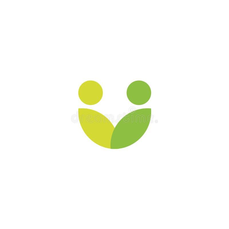 Het groene bladerenembleem, vat gestileerd mensenpictogram, veganistgemeenschap, mensengezondheidszorg, natuurvoedingsymbool same royalty-vrije illustratie