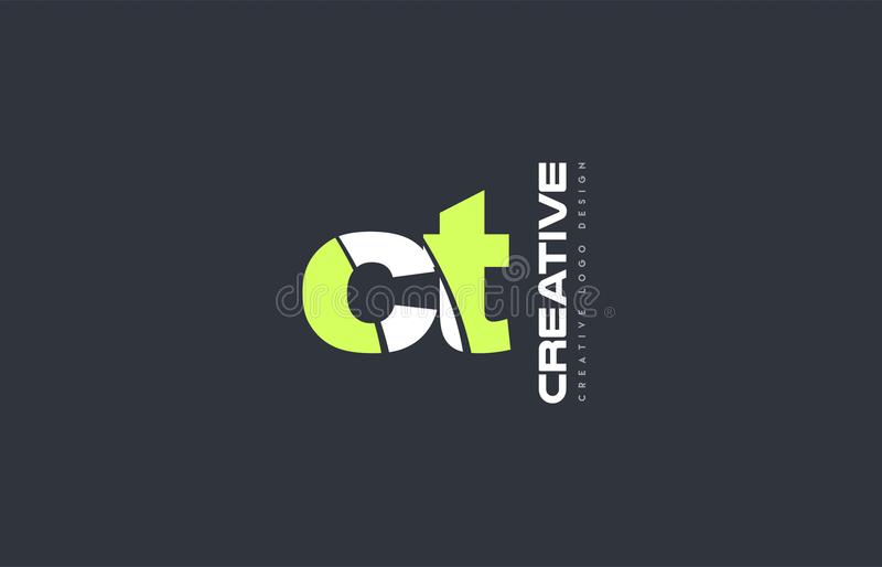 het groene brievenct c t van het het pictogrambedrijf van het combinatieembleem ontwerp gezamenlijk j stock illustratie