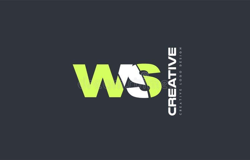 het groene brievenws w s van het het pictogrambedrijf van het combinatieembleem ontwerp gezamenlijk j vector illustratie