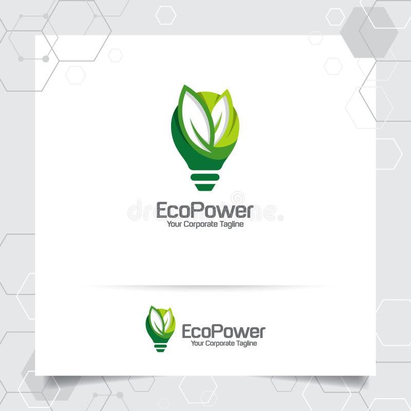 Het groene concept van het de bolontwerp van de embleemenergie bladerenvector en lamppictogram Elektriciteitsembleem dat voor mil stock illustratie