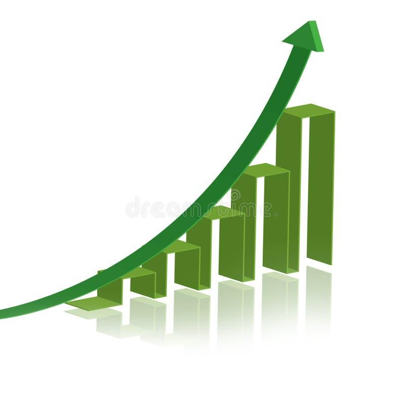 Het groene diagram van het succes royalty-vrije illustratie