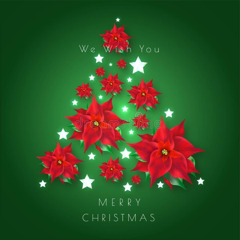 Het groene die ontwerp van de Groetkaart met Kerstmisboom door bloemen en st wordt gemaakt royalty-vrije illustratie