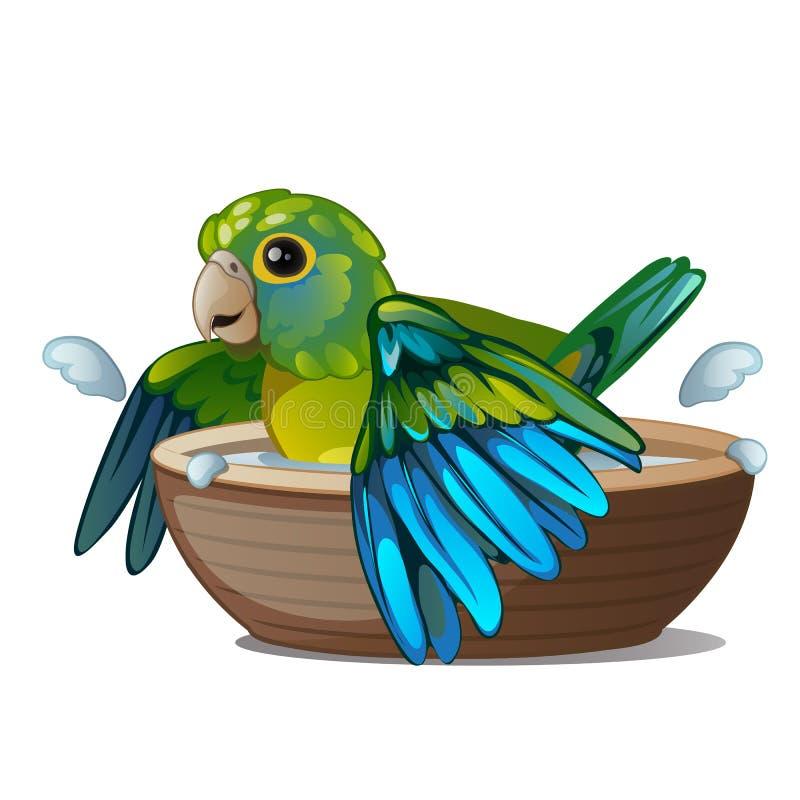 Het groene die papegaai baden in een kom water op een witte achtergrond wordt geïsoleerd Tropische bedwongen vogel Vector illustr vector illustratie