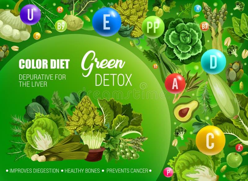 Het groene dieet van het kleurenvoedsel, gezonde spijsvertering detox stock illustratie