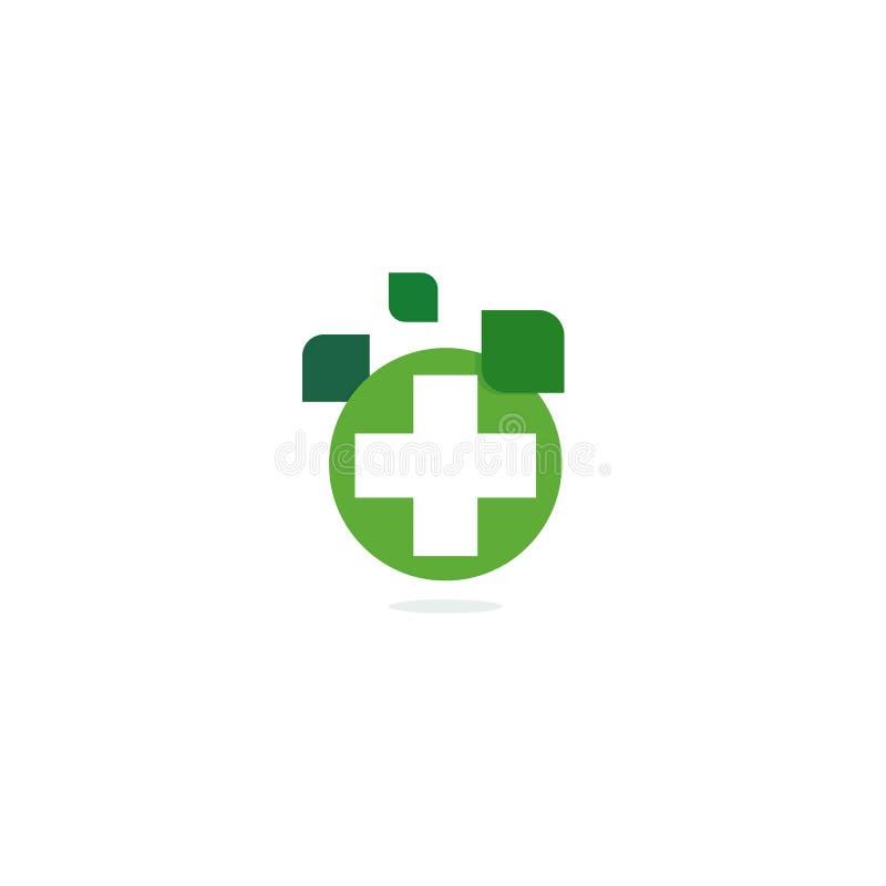 Het groene dwarsembleem, eco het helen kruidenapotheek, isoleerde vector logotype malplaatje op witte achtergrond royalty-vrije illustratie