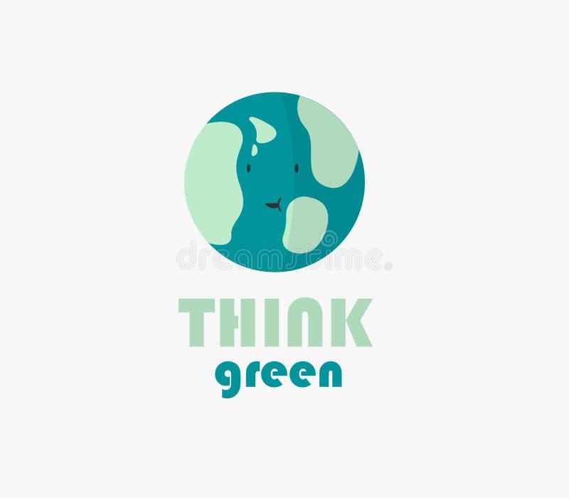 Het groene ecologieembleem voor de aarde dag 22 april denkt groen stock illustratie