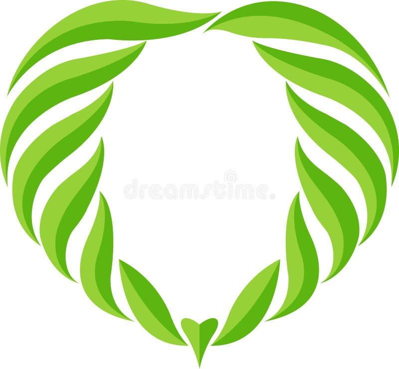 Het groene embleem van het bladhart vector illustratie
