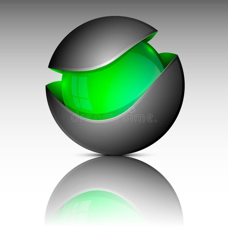 Het groene embleem van het cirkelgebied stock illustratie