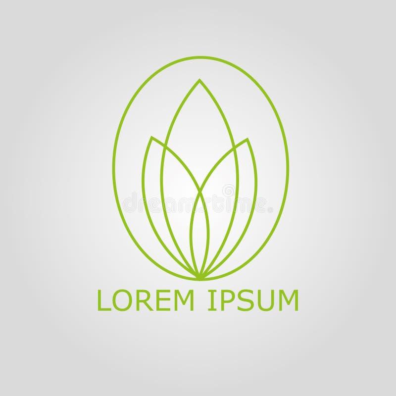 Het groene embleem van Lotus royalty-vrije stock afbeeldingen
