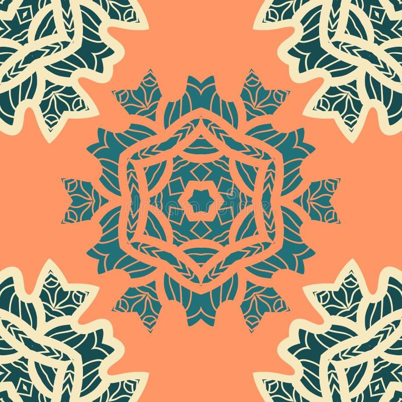 Het groene en oranje ornament van kleurenmandala Het decoratieve sierpatroon van de kleurings antistresstherapie Stoffenontwerp stock illustratie