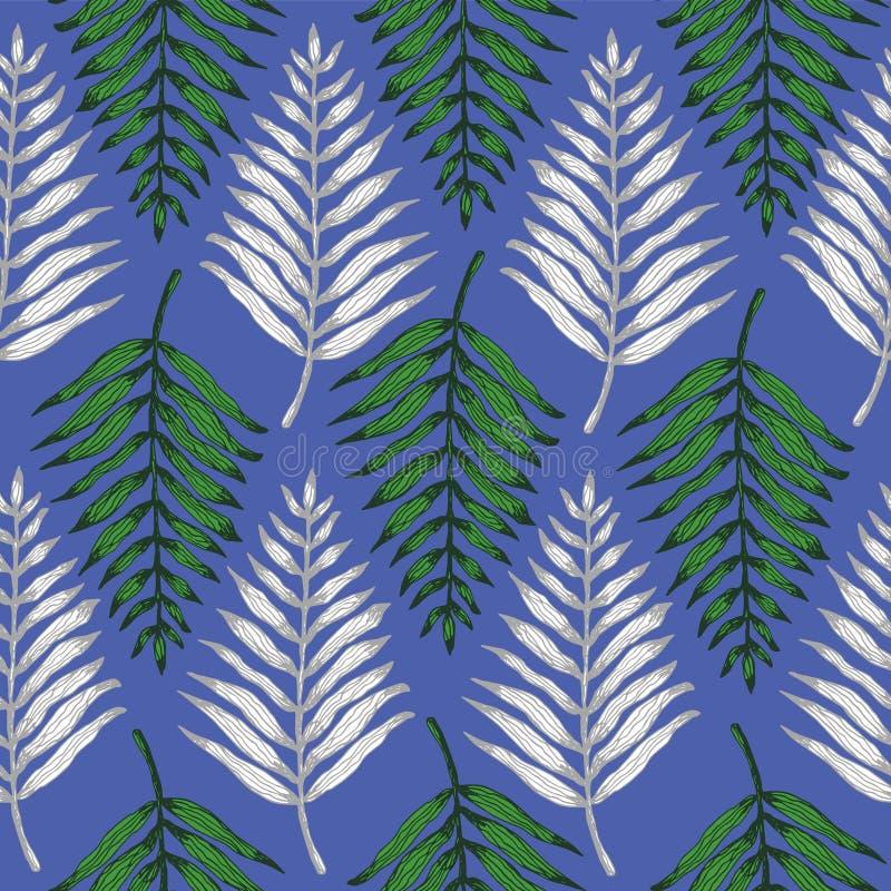 Het groene en witte tropische patroon van varenbladeren royalty-vrije illustratie