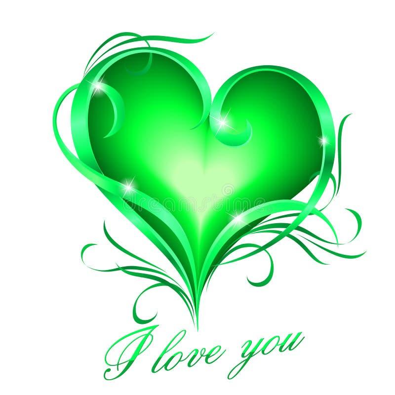Het groene hart met I houdt van u tekst royalty-vrije illustratie