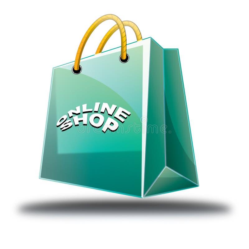 Het groene het Winkelen Pictogram van de zak online winkel royalty-vrije stock afbeeldingen