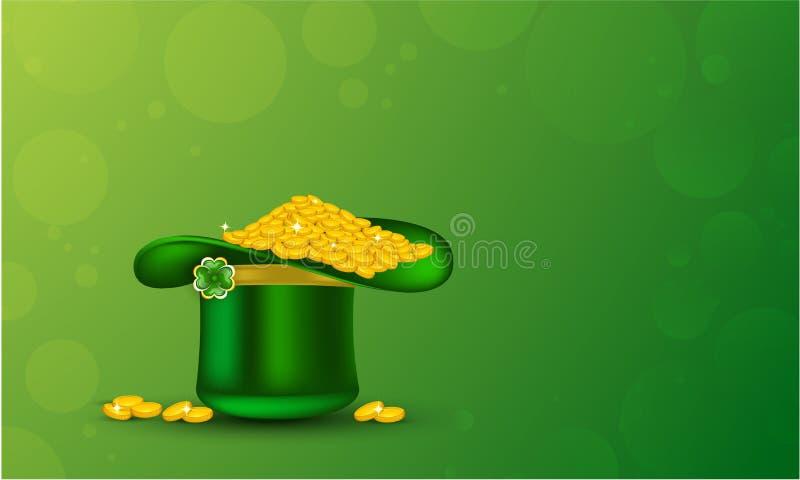 Het groene hoogtepunt van de kabouterhoed van gouden muntstukken op glanzende groene achtergrond voor St Patrick Dag vector illustratie