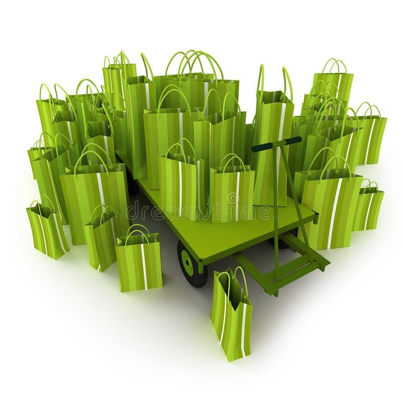 Het groene hoogtepunt van de palletvrachtwagen van groene het winkelen zakken vector illustratie