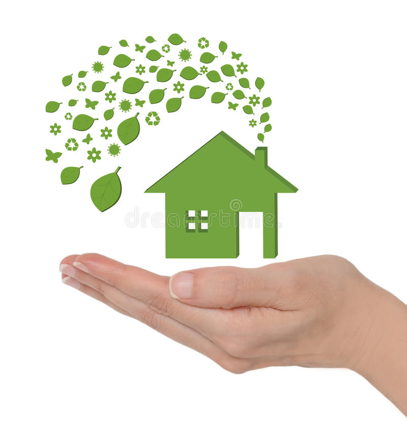 Het groene huis van Eco stock afbeeldingen
