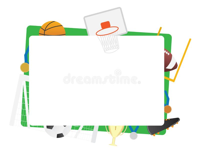 Het groene kader geïsoleerde Basketbal van teamsporten, voetbal, basketbal royalty-vrije illustratie