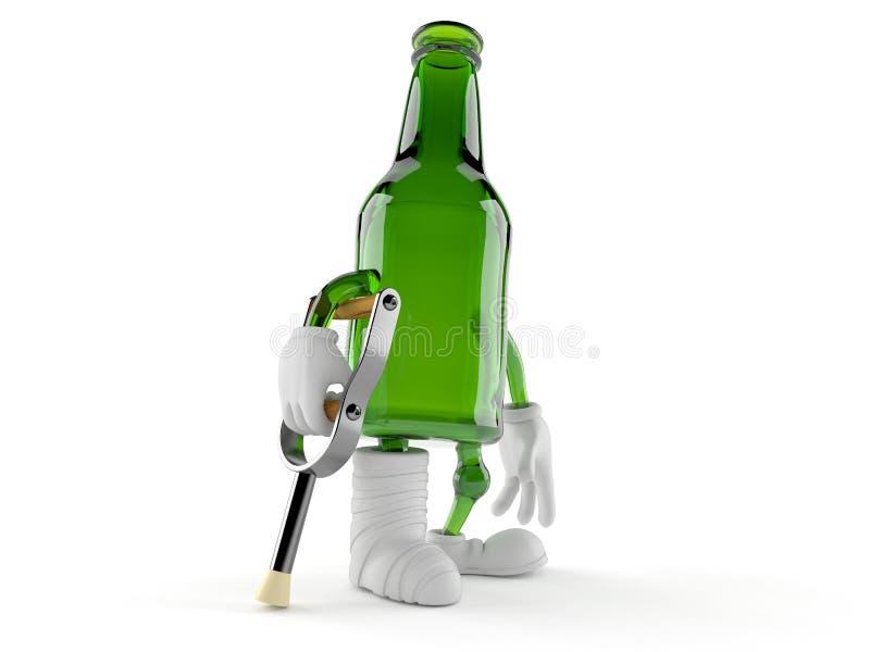 Het groene karakter van de glasfles met gebroken been stock illustratie