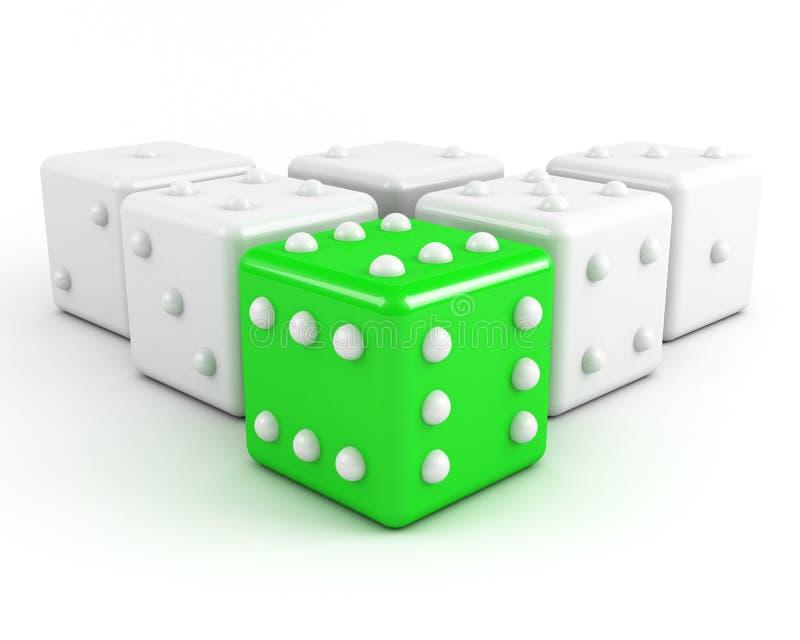 Het groene leiden dobbelt vector illustratie