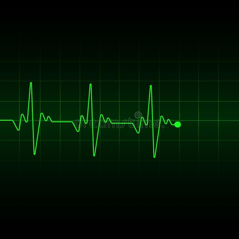 Het groene lichte transparante effect van de Hartimpuls, elektrocardiogram Vector illustratie vector illustratie