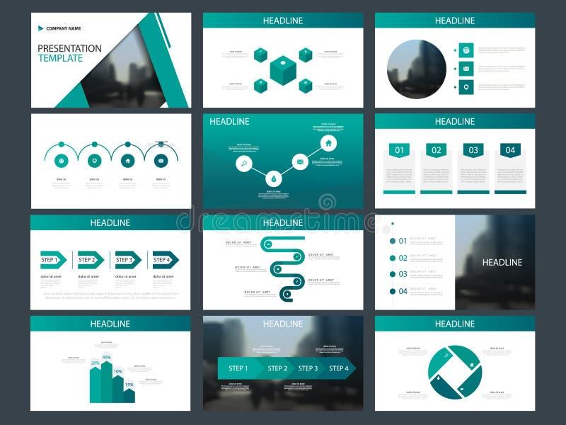 Het groene malplaatje van de de elementenpresentatie van de driehoeksbundel infographic bedrijfs jaarverslag, brochure, pamflet,  vector illustratie