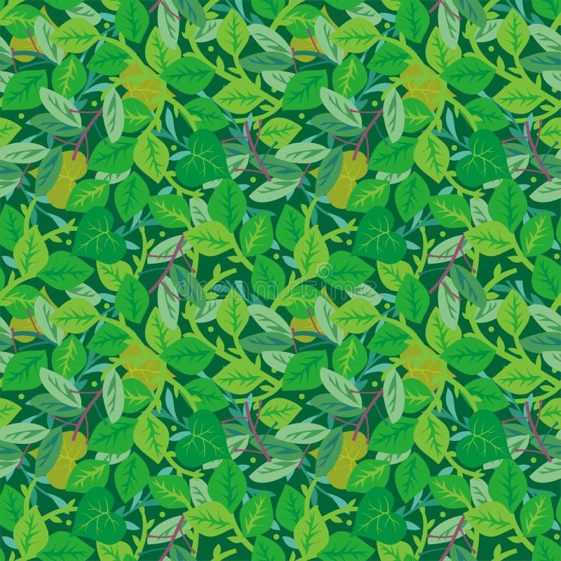 Het groene naadloze gebladerte herhaalt patroon royalty-vrije illustratie