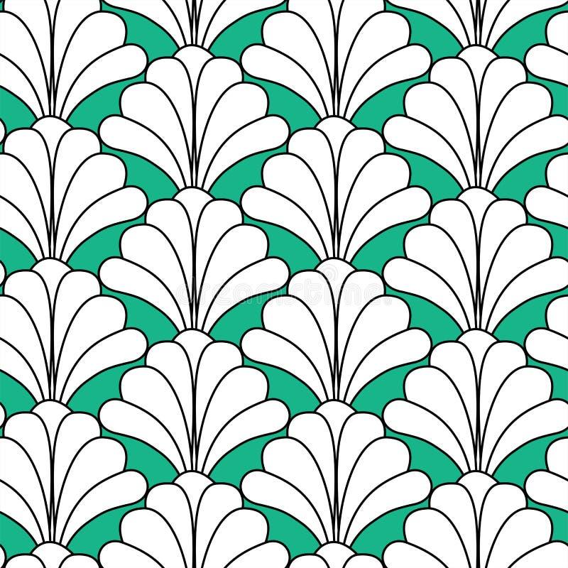 Het groene Naadloze Patroon van Art Deco Gatsby Style Floral royalty-vrije illustratie
