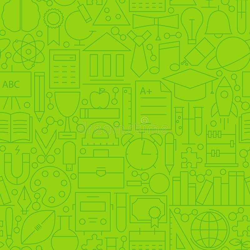 Het Groene Naadloze Patroon van de lijnschool royalty-vrije illustratie