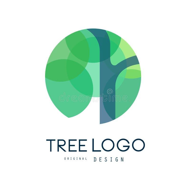 Het groene originele ontwerp van het boomembleem, het groene kenteken van de ecocirkel, vat organische elementen vectorillustrati royalty-vrije illustratie