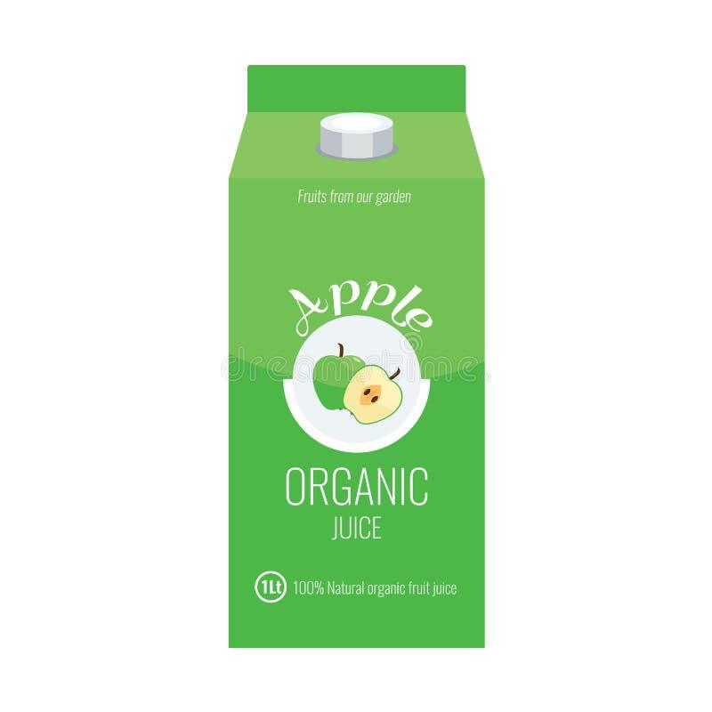 Het groene pakket van de appelsapdoos met de stevige en vlakke stijl van het kleurenontwerp stock illustratie