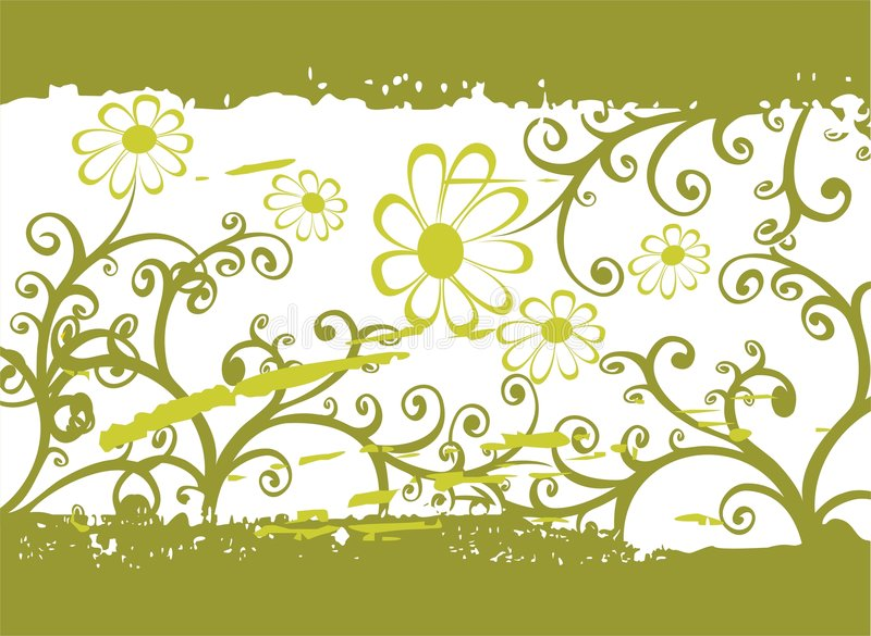 Het groene patroon van de grungebloem vector illustratie