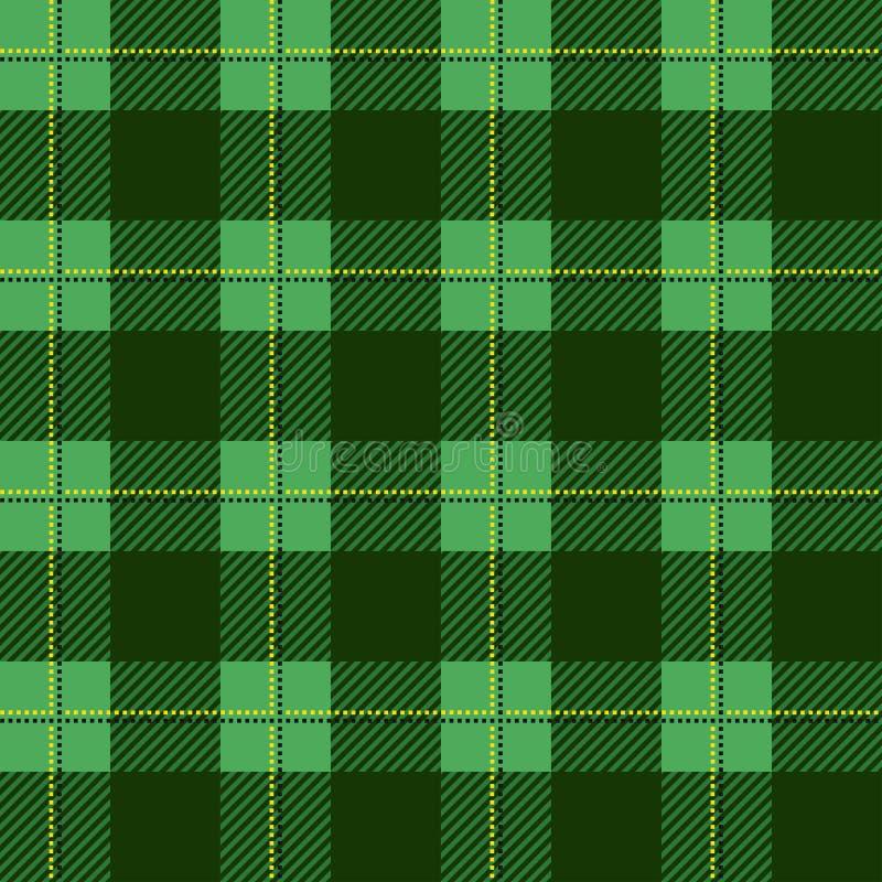 Het groene patroon van de houthakkersplaid Naadloze vectorachtergrond Afwisselende overlappende zwarte en gekleurde cellen  royalty-vrije illustratie