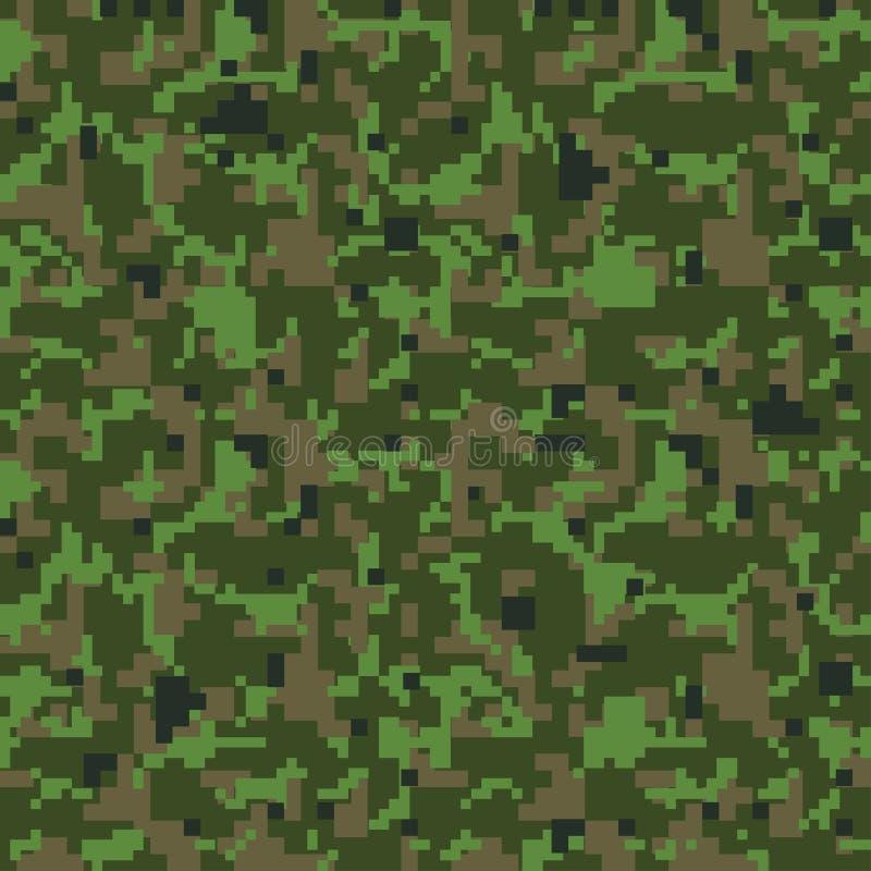 Het groene patroon van pixel naadloze camo Militaire kaki camouflagetextuur stock illustratie