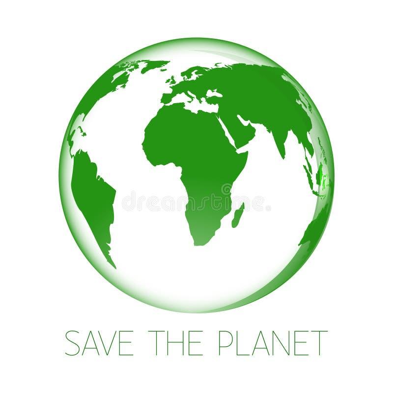 Het groene Pictogram van de Aarde Sparen de Planeet Ge?soleerd op wit stock illustratie