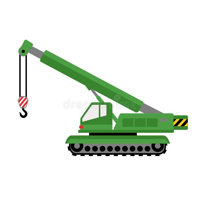 Het groene pictogram van de graafwerktuigkraan, vlakke stijl royalty-vrije illustratie