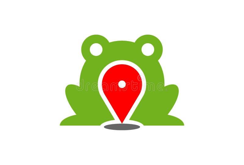 Het groene pictogram van het de plaatsembleem van de kikkerkaart vector illustratie