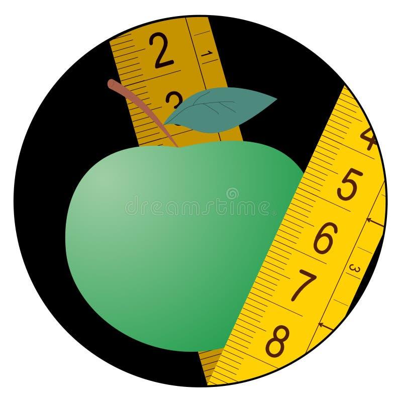 Het groene pictogram van het appeldieet royalty-vrije illustratie
