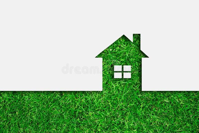 Het groene pictogram van het ecohuis stock foto's