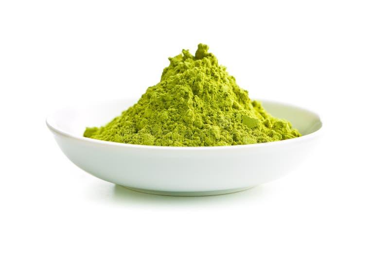 Het groene poeder van de matchathee stock afbeelding