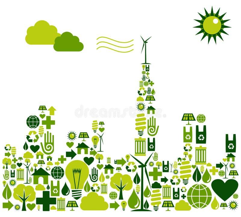 Het groene silhouet van de Stad met milieupictogrammen stock illustratie