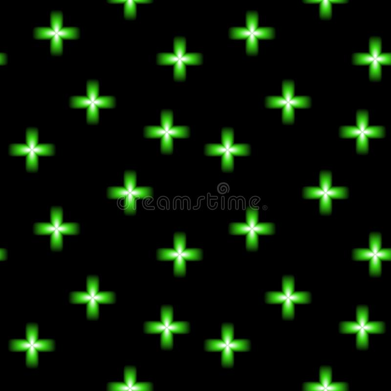 Het groene symbool van de neon gloeiende dwars, moderne apotheek, naadloze vectorachtergrond vector illustratie