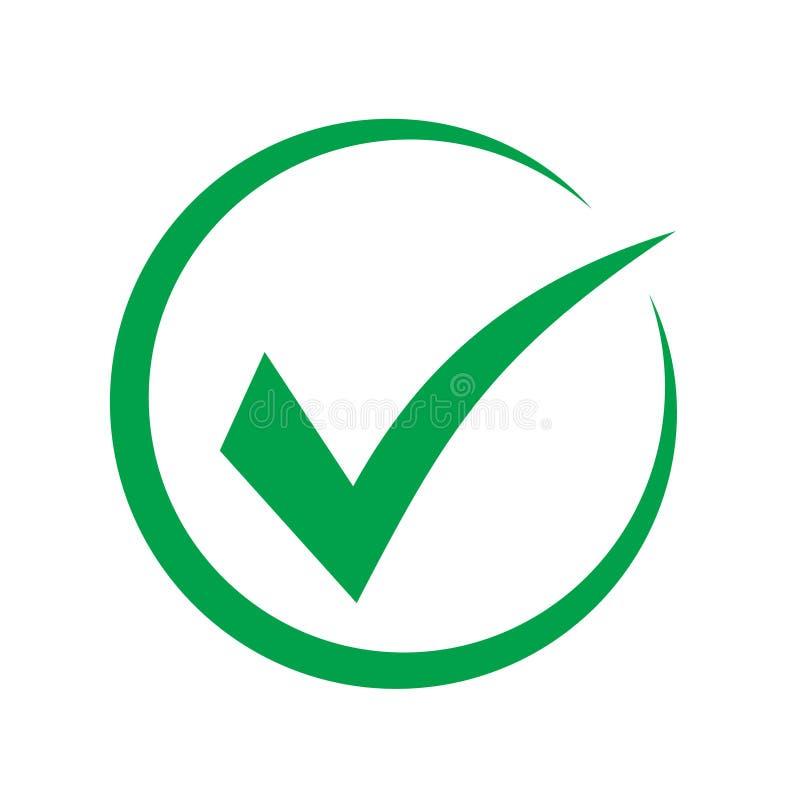 Het groene vectordiesymbool van het tikpictogram, controleteken op witte achtergrond wordt ge?soleerd, controleerde pictogram of  royalty-vrije illustratie