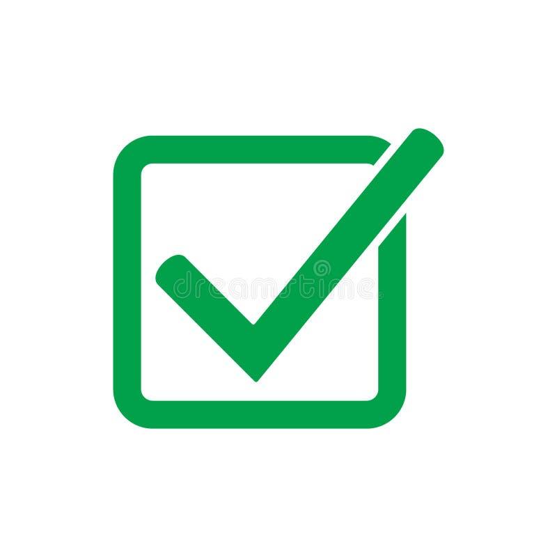 Het groene vectorsymbool van het tikpictogram, controleteken dat op witte achtergrond wordt geïsoleerd, controleerde pictogram of stock illustratie