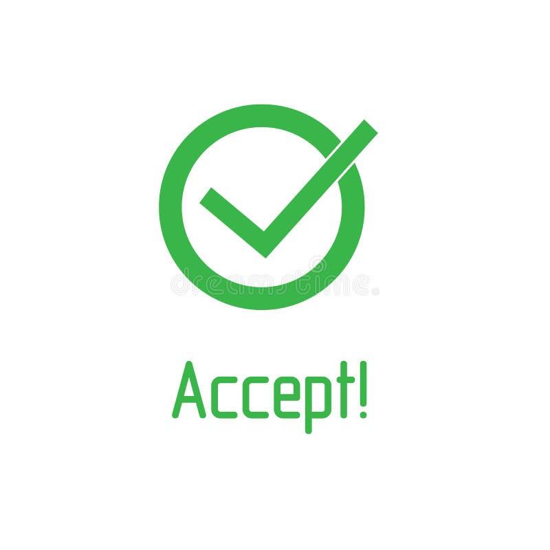 Het groene vinkje met woord keurt pictogram goed Tiksymbool in groene kleur, vectorillustratie stock illustratie