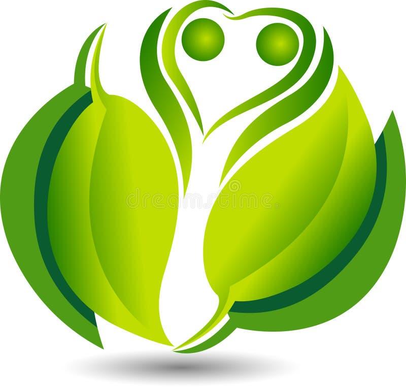 het groene vriendschappelijke embleem van bladeco royalty-vrije illustratie