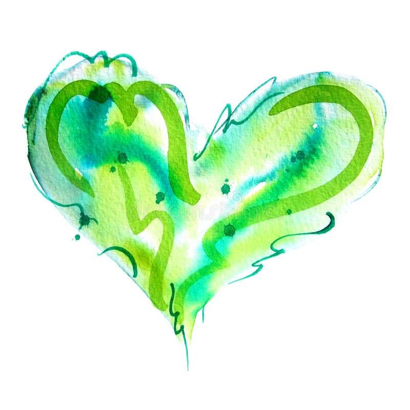Het groene Watercolour-Liefdehart Schilderen stock illustratie