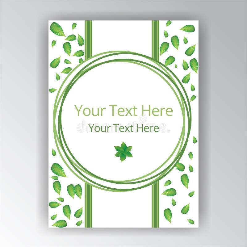 Het groene witte mooie etiket van de dekkingscirkel stock illustratie