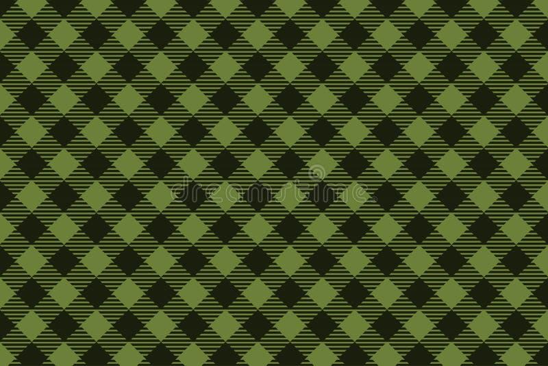 Het groene Zwarte naadloze patroon van de Houthakkersplaid stock illustratie